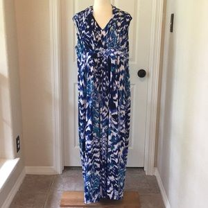 Chico's Blue Watercolor Maxi Dress Sz 3 New!